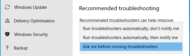 Windows troubleshooting automatic repair options in the Settings app