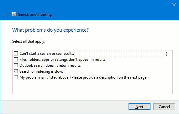 Running a Windows troubleshooter in Windows 10