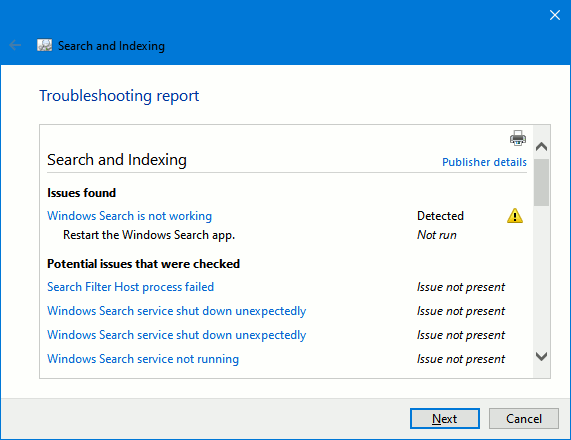 Fixing a problem with a troubleshooter in Windows 10 on a PC