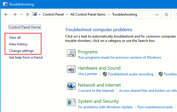 Troubleshooting in the Control Panel in Windows