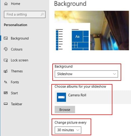 Windows background slideshow settings