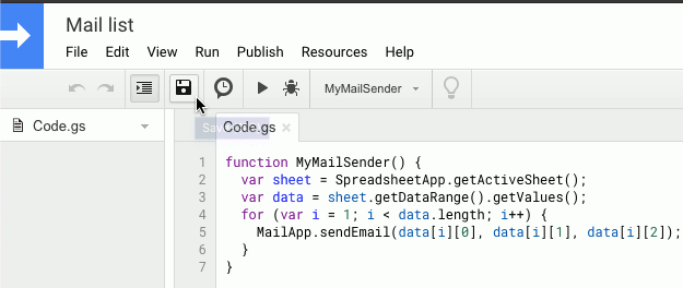 Creating a script in the Google Sheets script editor