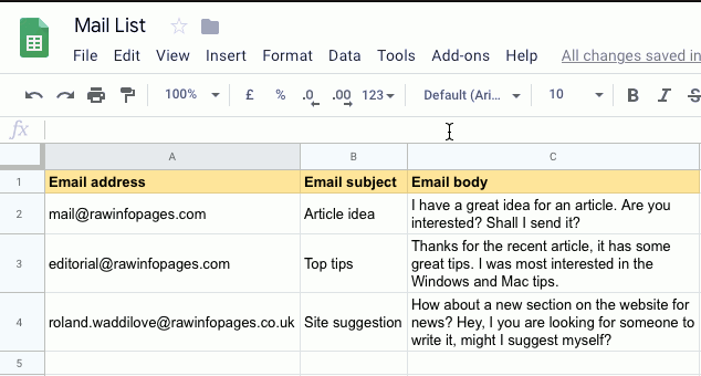 Create emails in Google Sheets