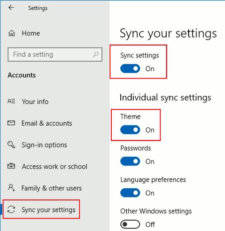 Sync Windows theme