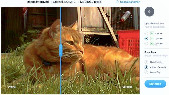 Enlarging an image with Upscaler, a web tool