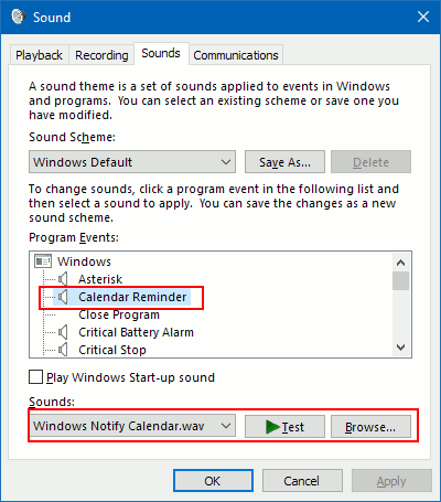 Configure Windows system sounds
