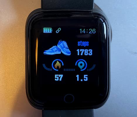 ANCwear fitness tracker watch showing the activity screen