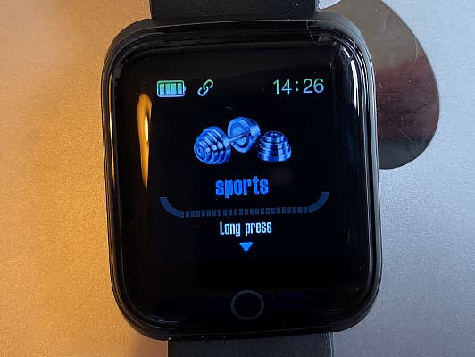 ANCwear fitness tracker watch showing the sports screen