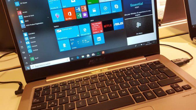 ASUS laptop computer running Windows 10 showing the Start menu