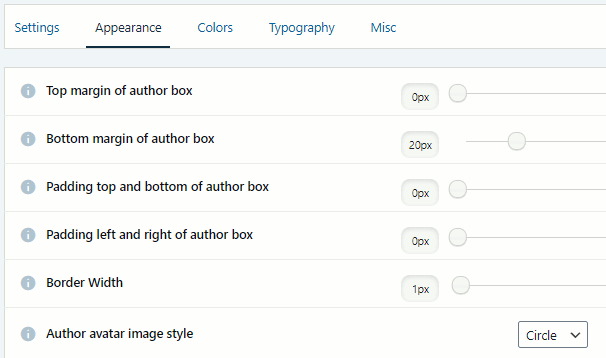Simple Author Box WordPress plugin settings