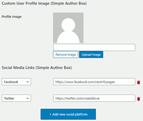 Custom profile image settings for Simple Author Box WordPress plugin