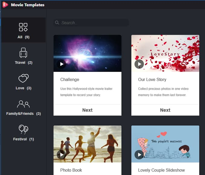 MiniTool MovieMaker Free templates for creating movies from video clips
