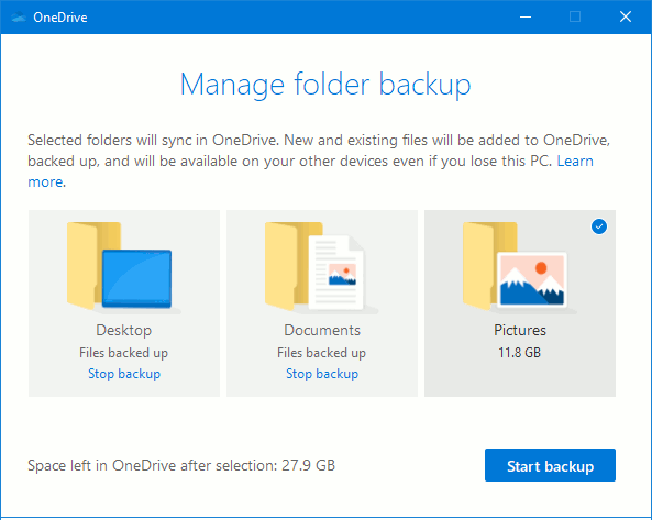 OneDrive settings: Choose whether to back up and sync Desktop, Documents and Pictures