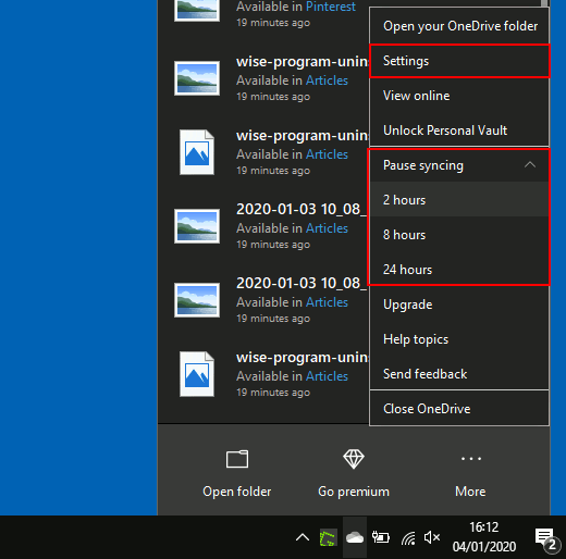 OneDrive menu on Windows PC: Select the length of time to pause syncing