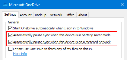 Microsoft OneDrive settings: Pause syncing when the battery is low
