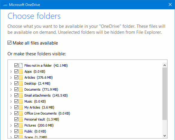 Microsoft OneDrive settings: Choose which folders to sync
