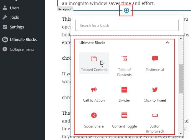Ultimate Blocks Gutenberg extensions for WordPress post editor