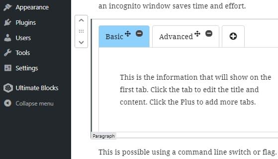 Ultimate Blocks tabbed content block for WordPress Gutenberg editor