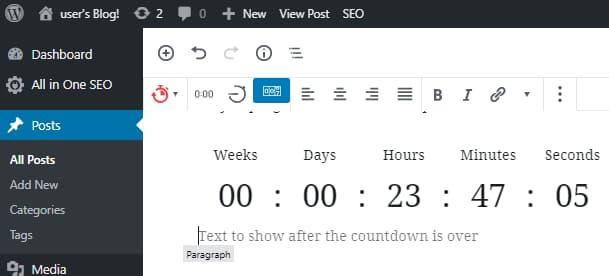 Ultimate Blocks countdown timer for WordPress Gutenberg editor