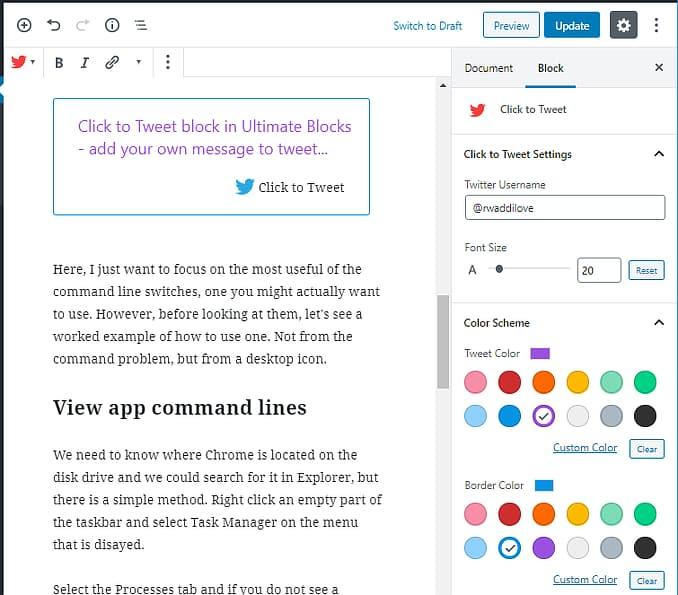 Ultimate Blocks Click to Tweet block for WordPress Gutenberg editor
