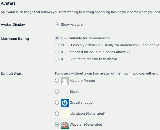 WordPress avatars settings