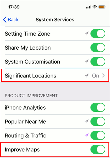 Apple Maps privacy settings on the iPhone