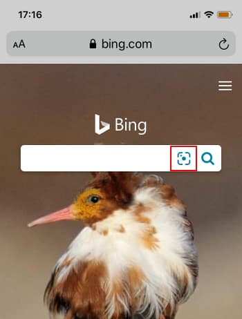 Bing search engine in Safari browser on an iPhone