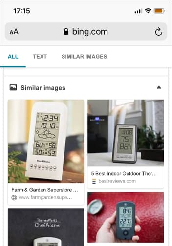 Bing image search showing a mini weather station gadget