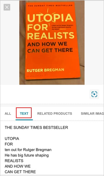 Bing image search of a book showing OCR text