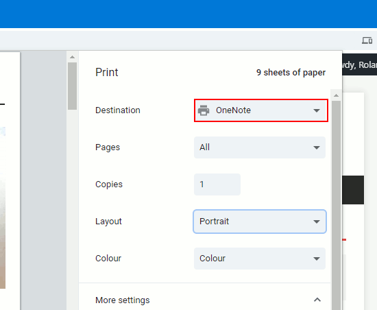 Print dialog when printing from Chrome