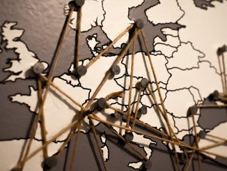 Map of Europe with pins showing locations
