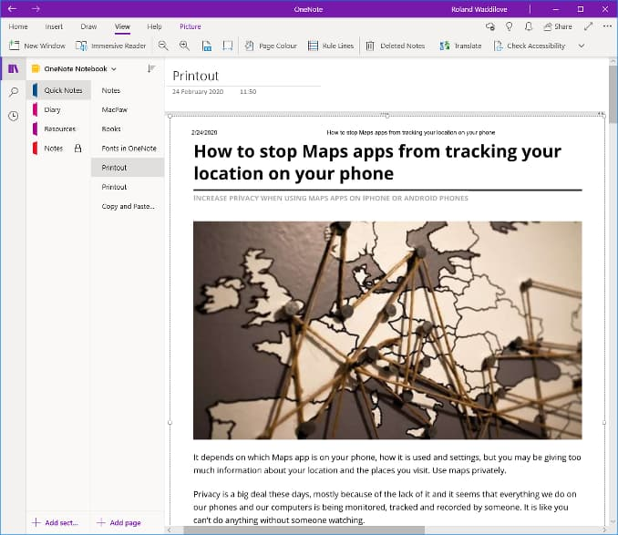 A web page printed to OneNote from Chrome browser