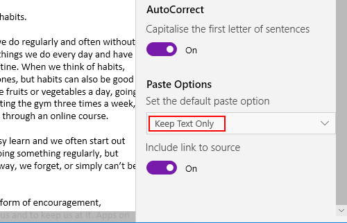 Microsoft OneNote copy and paste settings