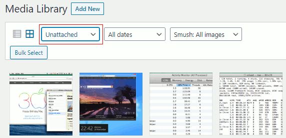 Unattached images in WordPress showing unused images