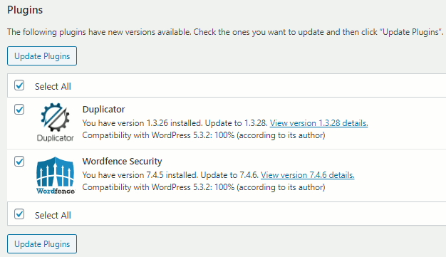 Update plugins in WordPress