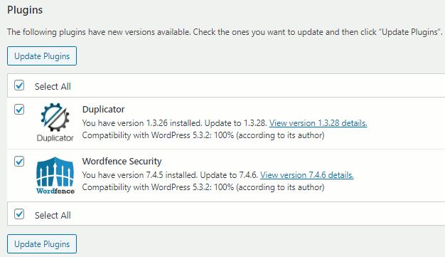 Update plugins in WordPress