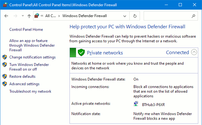 Windows Defender Firewall running in Windows 10