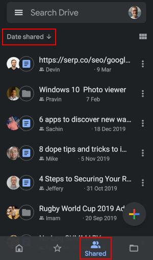 View shared files in the Google Drive Android app