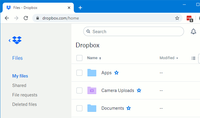 Accessing Dropbox online storage using Chrome browser