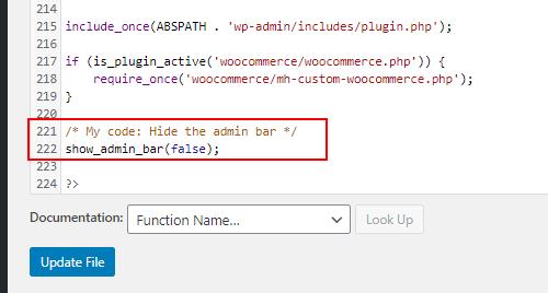 Code to hide the admin toolbar in WordPress