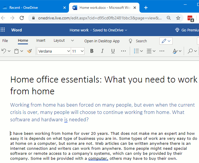 Microsoft Word web app in Chrome browser