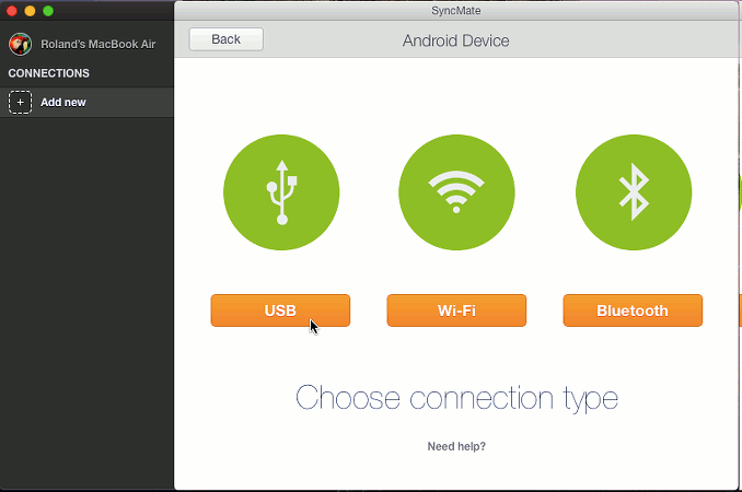SyncMate app for the Apple Mac connecting to an Android phone