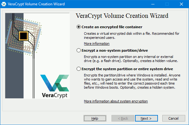 VeraCrypt encrypts drives, partitions and creates encrypted containers