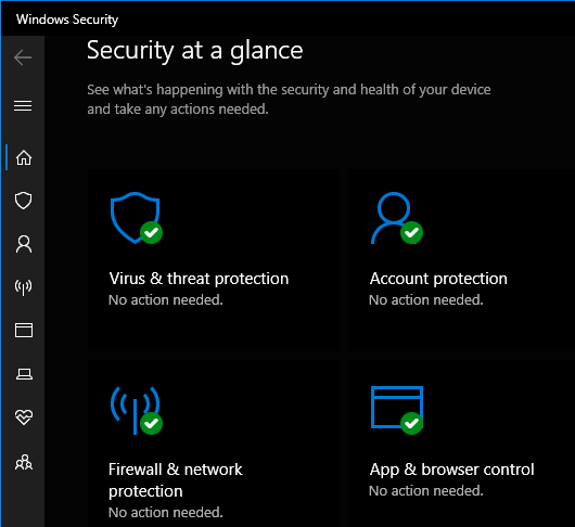 Windows Security in Windows 10 protects the PC
