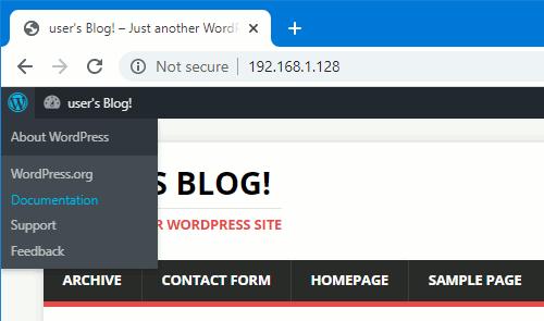 WordPress admin bar showing the menu