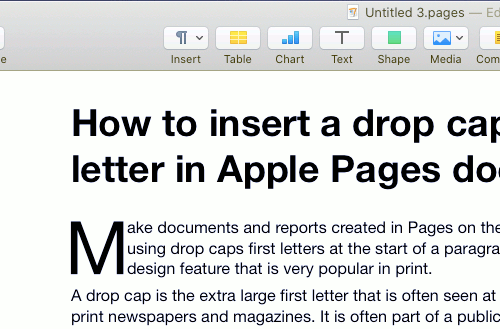 Apple Pages drop cap at the start of a paragraph on the Apple Mac