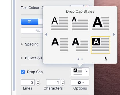 Select a predefined style for a drop cap in Pages on the Apple Mac