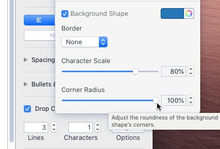 Customizing the style of a drop cap in a Pages document on the Apple Mac