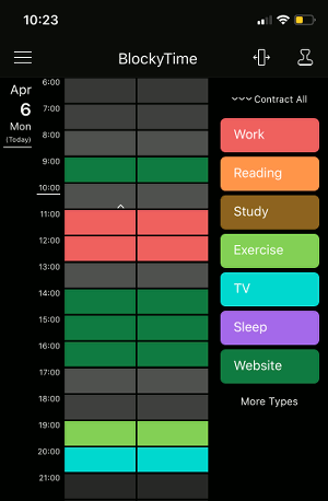 BlockyTime app for the iPhone