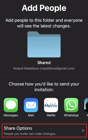 iCloud folder sharing screen